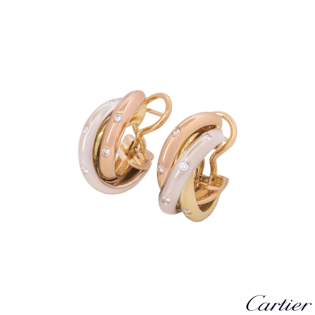 Cartier Tri-Colour Diamond Trinity Earrings B8031700